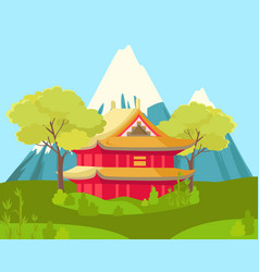 Chinese house in mountains landscape vector