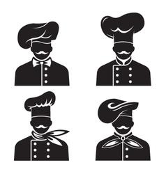 mustachioed chefs set vector image vector image