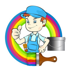 painter with brush vector image