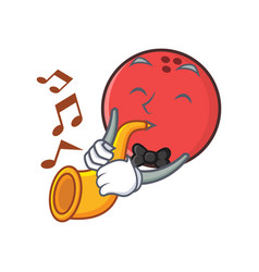 bowling ball character cartoon with trumpet vector image