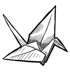 doodle paper crane origami vector image
