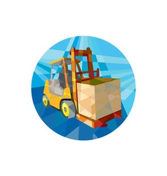 Forklift Truck Materials Box Circle Low Polygon vector image