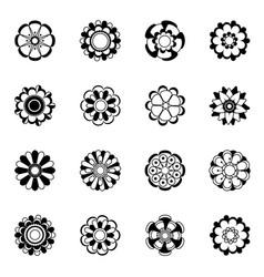 monochrome floral icon set black flowers vector image vector image