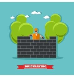 People build bricks wall Construction site vector image