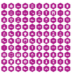 100 fashion icons hexagon violet vector image