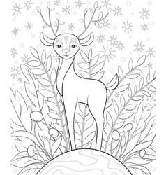 Adult coloring bookpage a cute little deer on the vector