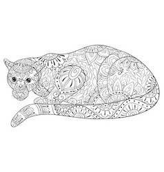 adult coloring bookpage a cute panther image for vector image
