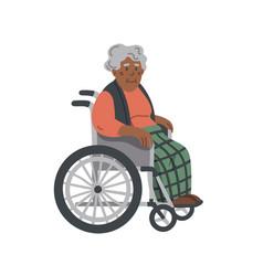 afran american elderly woman in a wheelchair vector image