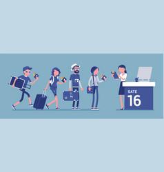 air flight check queue vector image