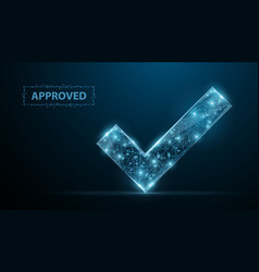 Approved low poly wireframe approved sign vector
