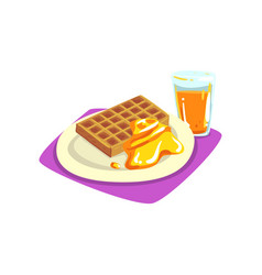 Belgian waffles with honey on plate and freshly vector