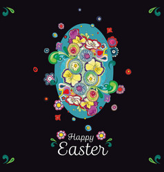 black easter greeting card with pattern vector image