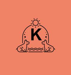 Black line art k initial letter in dog pet vector