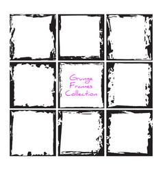 black square grunge frames collection vintage vector image