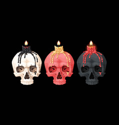 burning candle on a skull vector image