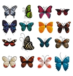 Butterfly icons set cartoon style vector image