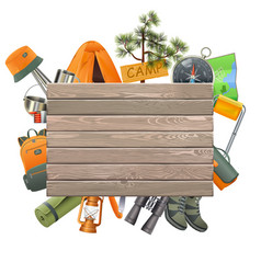 camping concept with wooden plank vector image