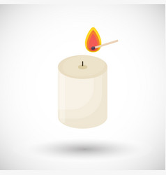 Candle and matchstick flat icon vector