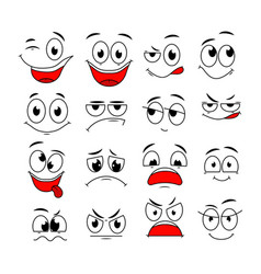cartoon expressions cute face elements eyes and vector image
