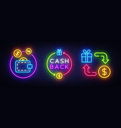 Cash back neon symbols collection cash vector