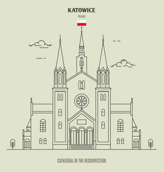 cathedral of the resurrection in katowice vector image