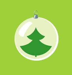 Christmas ball with new year tree inside vector image