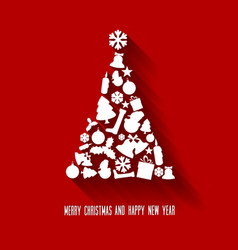 christmas tree made from various shapes vector image vector image