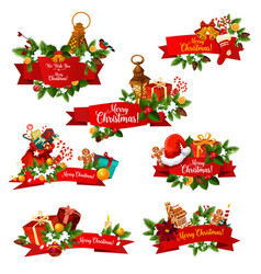 christmas wish greeting ribbons icons vector image
