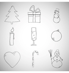 Collection of Christmas iconsobjects vector image