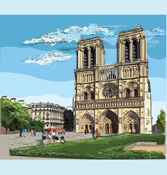 Colorful hand drawing paris 2 vector