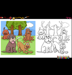 comic dogs and puppies group coloring book page vector image