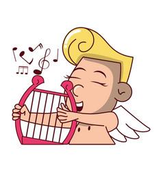 Cupid with harp vector
