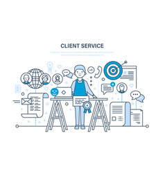 customer service problem solving communication vector image
