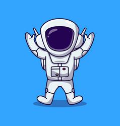 Cute astronaut jumping and raise 2 hand cartoon vector