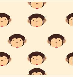 cute head monkey cartoon seamless pattern vector image