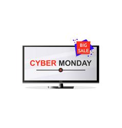 Cyber monday design flat screen lcd tv monitor vector
