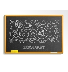 Ecology hand draw integrated icons set on school vector image