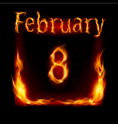 Eighth february in calendar of fire icon on black vector