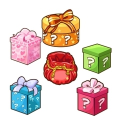 Five different color gift boxes with bows vector