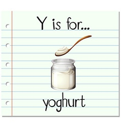 Flashcard letter Y is for yoghurt vector