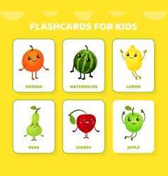 Flashcards for kids with funny humanized fruit vector