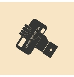 Flat black and white bank card in hand vector