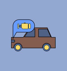 Flat icon design collection car and engine vector