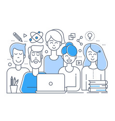 Flat line design creative team teamwork vector