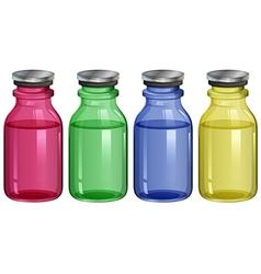 Four clear bottles vector
