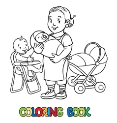 Funny nanny with children Coloring book vector image