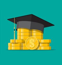 Graduation cap and gold coin vector