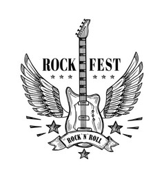guitar with wings music festival vintage poster vector image