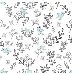 hand drawn flowers and blue birds seamless pattern vector image
