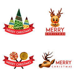 Hand drawn watercolor christmas logo designs vector